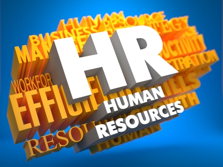 HR - Human Resources. The Words in White Color on Cloud of Yellow Words on Blue Background. Wordcloud Concept. photo