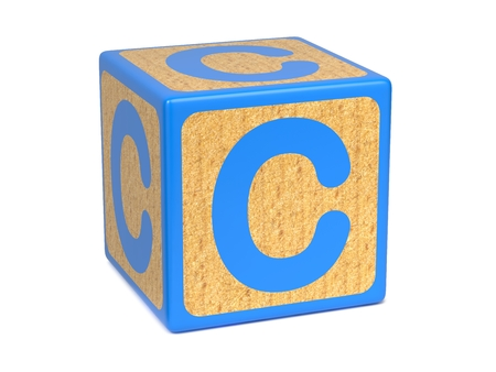 wood blocks: Letter C on Blue Wooden Childrens Alphabet Block  Isolated on White. Educational Concept. Stock Photo