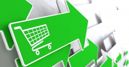 灰色の背景に緑色の矢印にショッピングカートのアイコン。