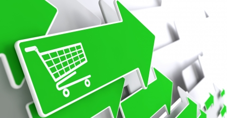 Icon of Shopping Cart on Green Arrow on a Grey Background. Stock Photo