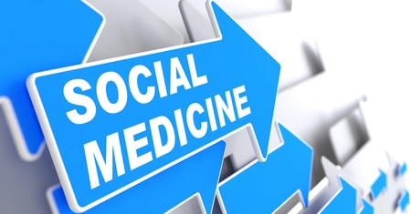 epidemiology: Social Medicine on Blue Arrow on a Grey Background. Stock Photo