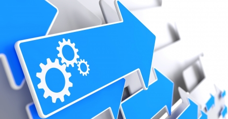business process: Cogwheel Gear Mechanism Icon on Blue Arrow on a Grey Background. Stock Photo
