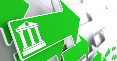 deposite: Icon of  Building with Columns on Green Arrow on a Grey Background. Stock Photo