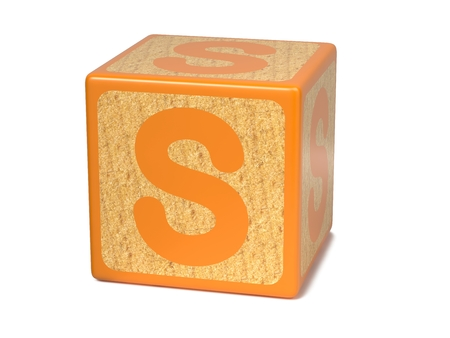 child s block: Letter S on Orange Wooden Childrens Alphabet Block  Isolated on White. Educational Concept.