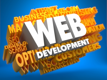 Web Development on White Color on Cloud of Yellow Words on Blue Background. Internet Concept. photo