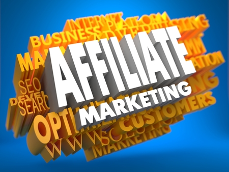 rewarded: Affiliate Marketing on White Color on Cloud of Yellow Words on Blue Background. Business Concept. Stock Photo