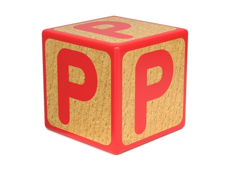 Letter P on Red Wooden Childrens Alphabet Block  Isolated on White. Educational Concept. photo