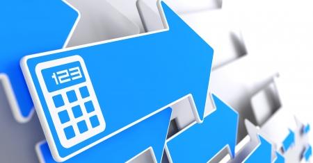 flecha azul: Icono de la calculadora en flecha azul sobre un fondo gris.