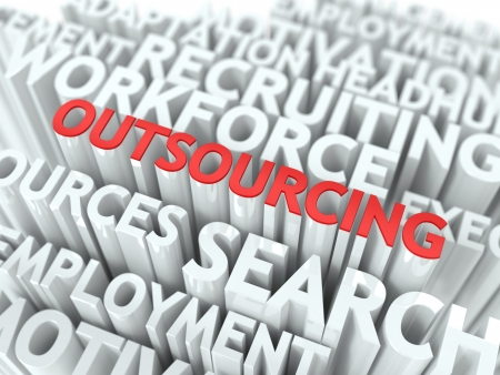 out of production: Outsourcing - Word in Red Color Surrounded by a Cloud of Words Gray. Wordcloud Concept.