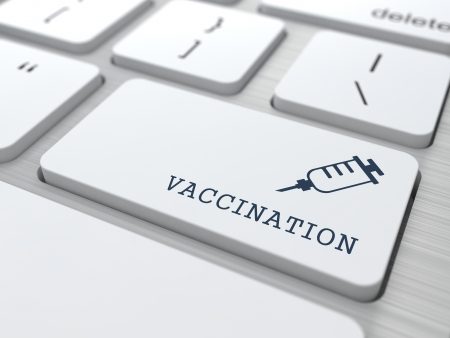 antigenic: Vaccination Word with Syringe Icon -  Button of White Modern Computer Keyboard. Medical Concept.