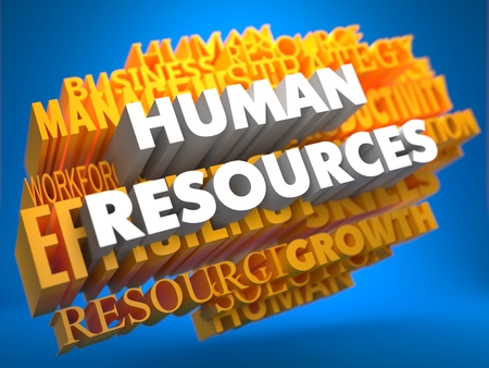 Human Resources - Words in White Color on Cloud of Yellow Words on Blue Background. Wordcloud Concept. photo