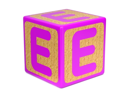 wood blocks: Letter E on Pink Wooden Childrens Alphabet Block  Isolated on White. Educational Concept.