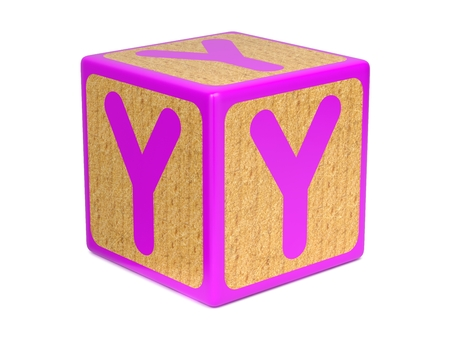 wooden block letter: Letter Y on Pink Wooden Childrens Alphabet Block  Isolated on White. Educational Concept.