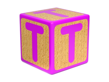 abc blocks: Letter T on Pink Wooden Childrens Alphabet Block  Isolated on White. Educational Concept.