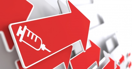 antigenic: Syringe Icon on Red Arrow on a Gray Background. Medical Concept.