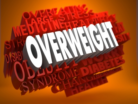 Overweight - the Word in White Color on Cloud of Red Words on Orange Background. photo