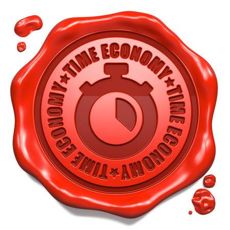 Time Economy Slogan with Stopwatch Icon - Stamp on Red Wax Seal Isolated on White. photo