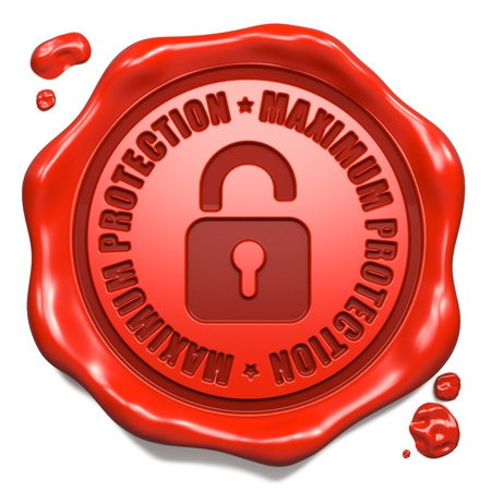 reliably: Maximum Protection Slogan with Icon of Opened Padlock - Stamp on Red Wax Seal Isolated on White.