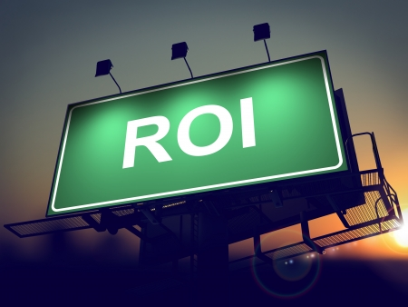 coefficient: ROI - Green Billboard on the Rising Sun Background. Stock Photo