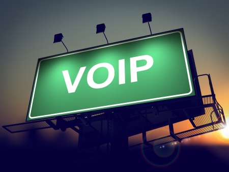 voip: VOIP - Green Billboard on the Rising Sun Background.