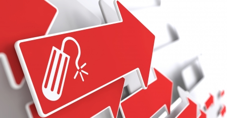 Icon of Tampon on Red Arrow on a Grey Background. Stock Photo