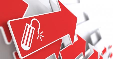 tampon: Icono de Tampon de Flecha Roja sobre un fondo gris. Foto de archivo