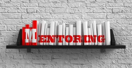 inscription: Mentoring - Red Inscription on the Books on Shelf on the White Brick Wall Background. Education Concept.