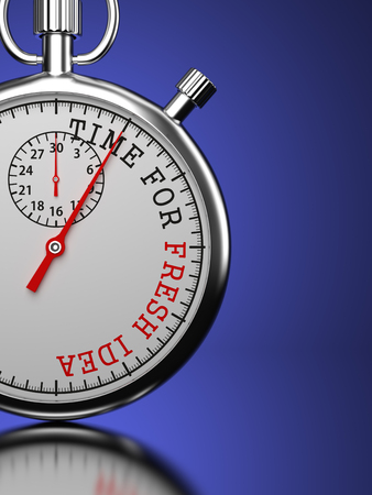 trailblazer: Idea Concept. Stopwatch with Time For Fresh Idea slogan on a blue background.
