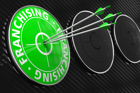 Franchising Concept. Three Arrows Hitting the Center of Green Target on Black Background.