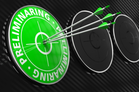 hiring practices: Preliminaring Concept. Three Arrows Hitting the Center of Green Target on Black Background. Stock Photo