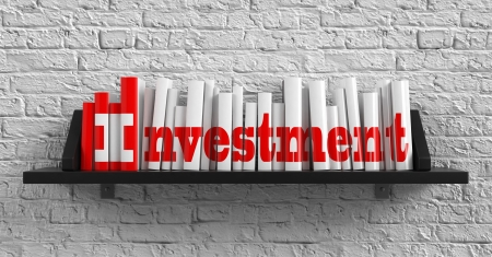 Investment - Red Inscription on the Books on Shelf on the White Brick Wall Background. Education Concept. photo