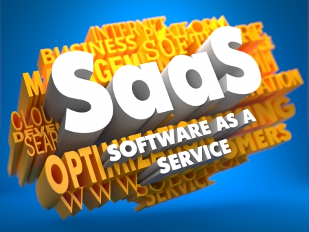 saas fee: SAAS - Software-as-a-Service - on  Yellow WordCloud on Blue Background. Stock Photo