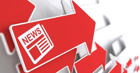 Newspaper Icon with News Title - Red Arrow on a Grey Background. Mass Media Concept. Stock Photo