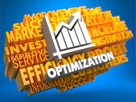 restructuring: Optimization with Growth Chart - White Color Text on Yellow WordCloud on Blue Background.
