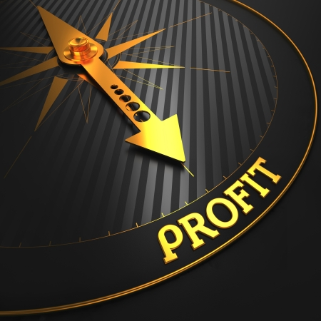 profiting: Profit - Golden Compass Needle on a Black Field Pointing. Business Concept. Stock Photo