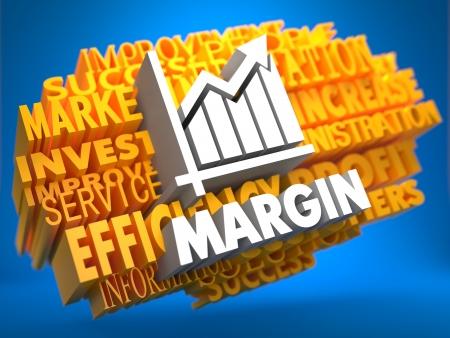 margine: Margine con Grafico crescita Icona su Giallo wordcloud su sfondo blu. Archivio Fotografico