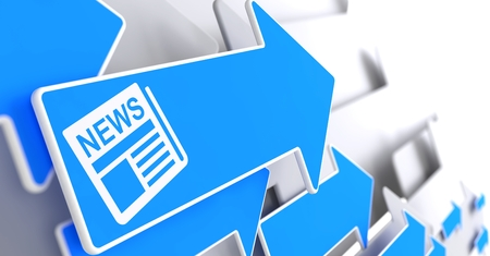 breaking news: Newspaper Icon with News Title - Blue Arrow on a Grey Background. Mass Media Concept. Stock Photo
