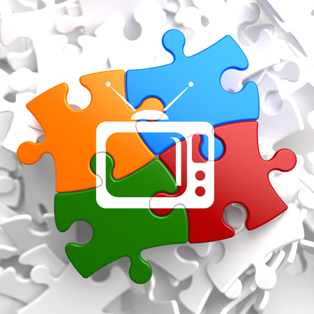 iptv: TV Set Icon on Multicolor Puzzle. Television Concept.