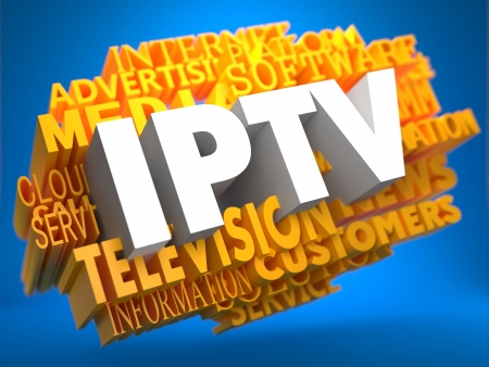middleware: IPTV - White Text on Yellow WordCloud on Blue Background. Stock Photo