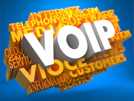 voip: VOIP - White Text on Yellow WordCloud on Blue Background.