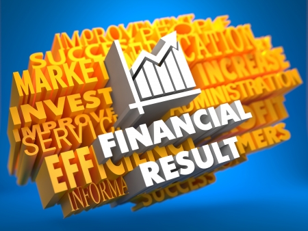 Financial Result with Growth Chart Icon on Yellow WordCloud on Blue Background. photo