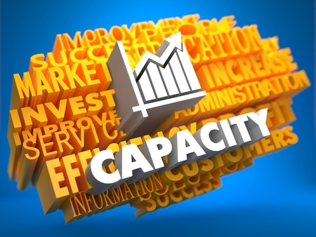 Capacity with Growth Chart - White Color Text on Yellow WordCloud on Blue Background.