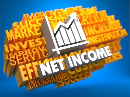 stockholder: Net Income with Growth Chart Icon on Yellow WordCloud on Blue Background.