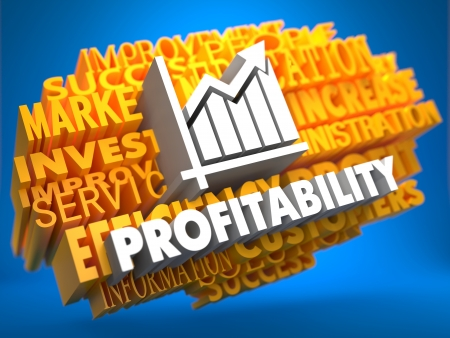Profitability with Growth Chart Icon on Yellow WordCloud on Blue Background. photo