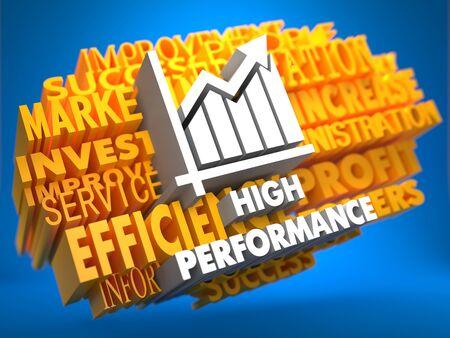 alto rendimiento: Alto rendimiento con la carta de crecimiento - Blanco Color de Texto en WORDCLOUD amarillo sobre fondo azul.