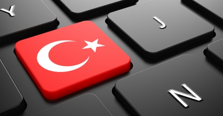 Flag of Turkey - Button on Black Computer Keyboard. photo