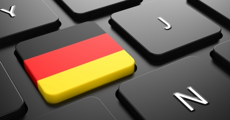 Flag of Germany - Button on Black Computer Keyboard. photo