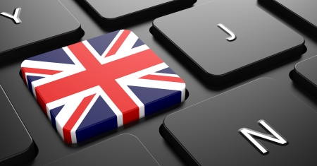 Flag of United Kingdom - Button on Black Computer Keyboard. photo
