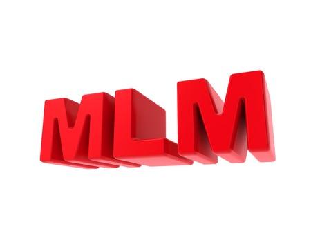 multilevel: MLM - Multi-Level Marketing - Testo rosso isolato su bianco. Concetto di Business. Archivio Fotografico