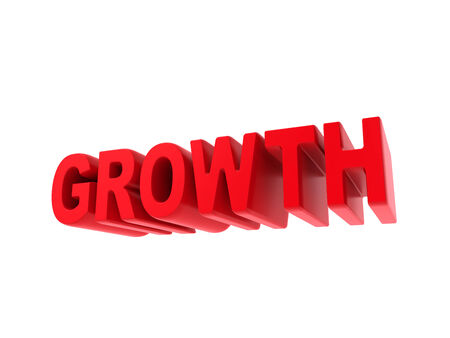 Growth - Red Text Isolated on White. Business Concept. photo
